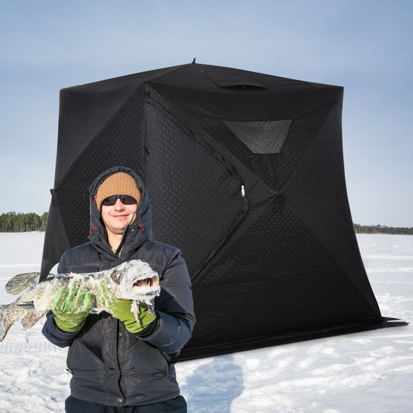 Outsunny Portable 4-Person Ice Fishing Tent Shelter with Ventilation Windows With Carry Bag & | Aosom Canada