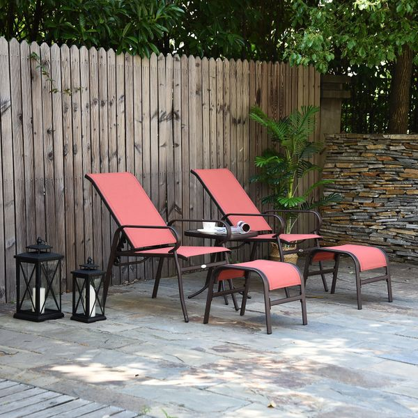 Outsunny Garden Furniture Set Deck Lawn Outdoor Lounger Adjustable Brown 5PCS | Aosom Canada