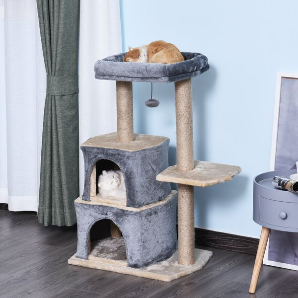PawHut Multi-Level Cat Tree with Sisal-Covered Scratching Posts Large Perch Grey | Aosom Canada