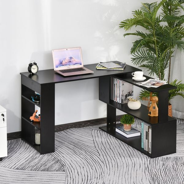 HOMCOM 360° Rotating Corner Desk L-Shaped PC Workstation Student Writing Table with Storage Shelf Home Office Black|Aosom Canada