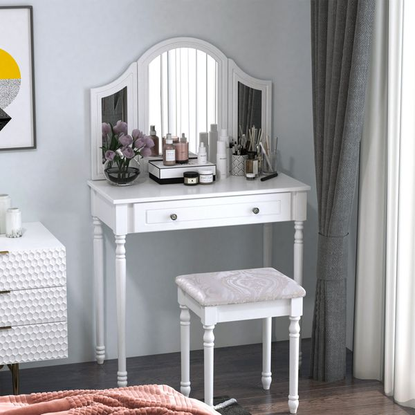 HOMCOM Luxury Wooden Vanity Dressor Set Dressing Table and Stool Make-up Furniture with 3 Mirrors (White) | Aosom Canada