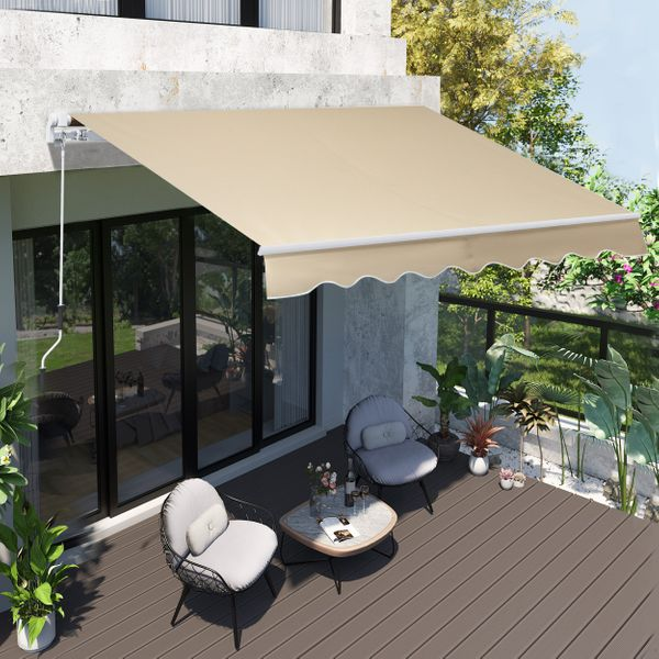 Outsunny 8'x7' Manual Retractable Waterproof Sun Shade Patio Awning Outdoor Deck Canopy Shelter Water-Resistant UV Protection Polyester Cream White|Aosom Canada