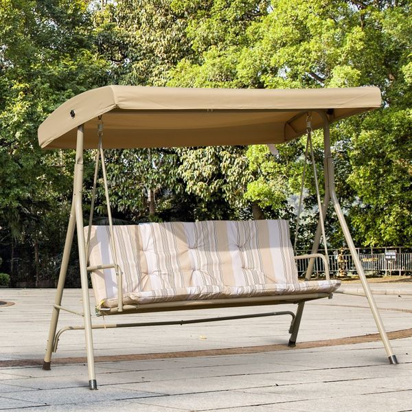 Outsunny 3 Person Outdoor Porch Swing Lounge Chair Bench with Canopy Top- Brown | Aosom Canada