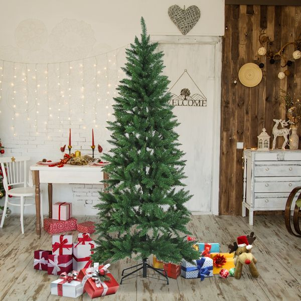 HOMCOM 6.9ft Artificial Christmas Tree Evergreen Spruce Xmas Tree Holiday Decor w/ Metal Stand Winter Holiday Decoration 865 Branch Tips Green