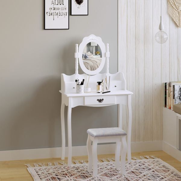 HOMCOM Vanity Table Set with Mirror and 3 Drawers, 360° Rotatable Wooden Makeup Dressing Table with Large Padded Stool, Gift for Women Girls, White