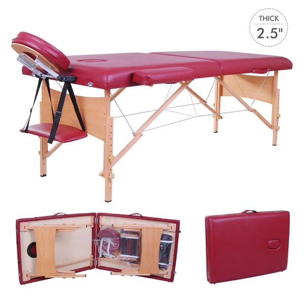 "Soozier Spa Bed 91"" Portable Massage Table 2.5"" Pad 2-Section Portable Massage Table Facial Salon SPA Bed 2 Fold Thick and High Density Foam Red Plus Carrying Bag