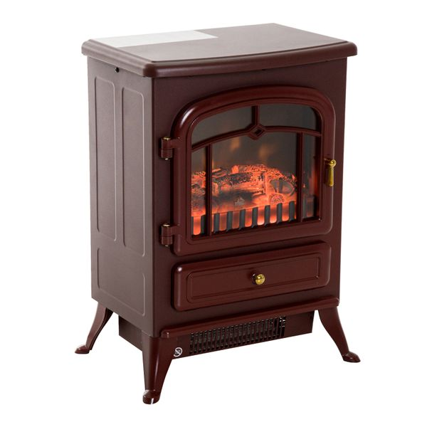"HOMCOM Electric Fireplace Wood Burning Flame 750W/1500W 16"" Free Standing Portable Adjustable Stove with Heater Red Brown 
