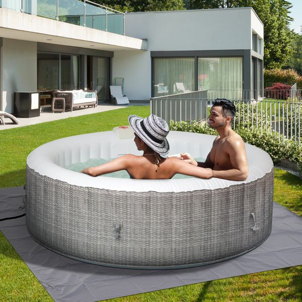 Outsunny 82''x26'' Inflatable Hot Tub Bubble Portable 4-6 People Spa Pool with Filter Pump  White and Grey   Aosom Canada