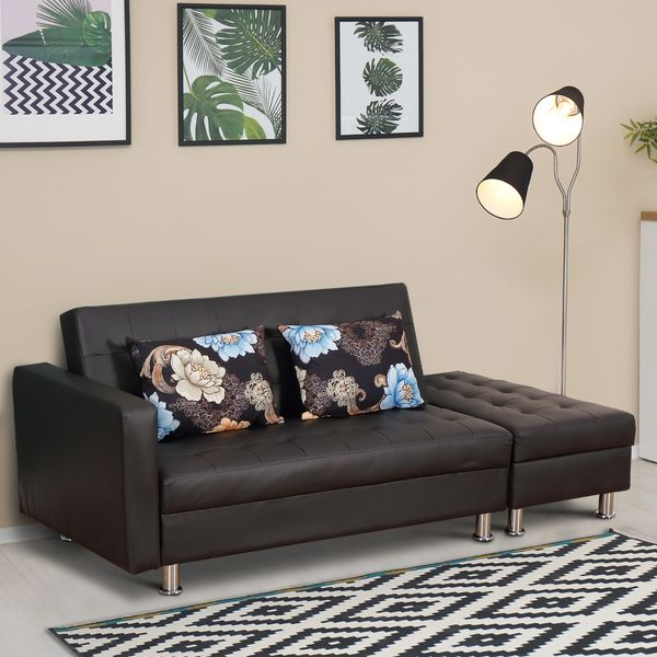 HOMCOM Convertible Adjustable 3-Position Futon Set Sofa Bed Couch Chaise Lounge