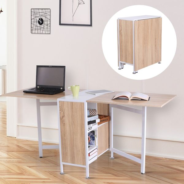 HOMCOM Folding Storage Table Hideaway Shelves Space Saving Oak Dining Multi-use Drop Leaf Study Laptop Desk | Aosom Canada