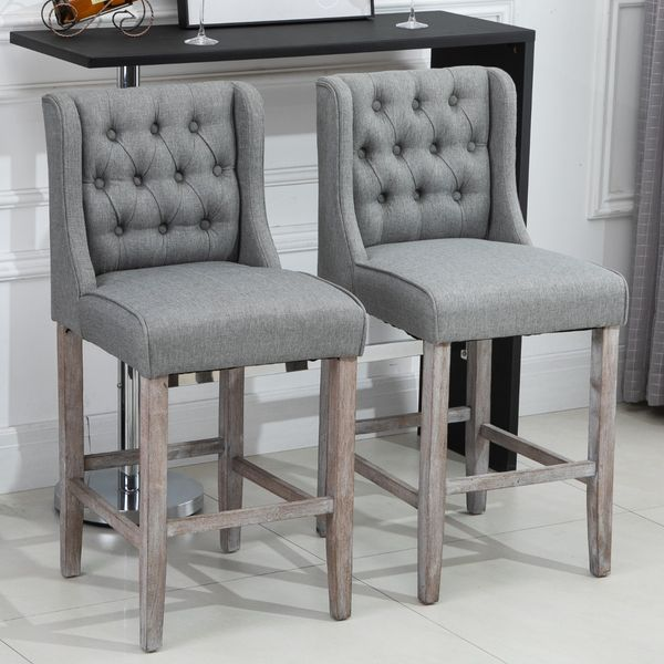 HOMCOM High Stool Set of 2 40Inch Button Tufted Barstools High Counter Dining Height Chairs Bar Stool with BackrestGrey Armless Chair Living Room Grey | Aosom Canada