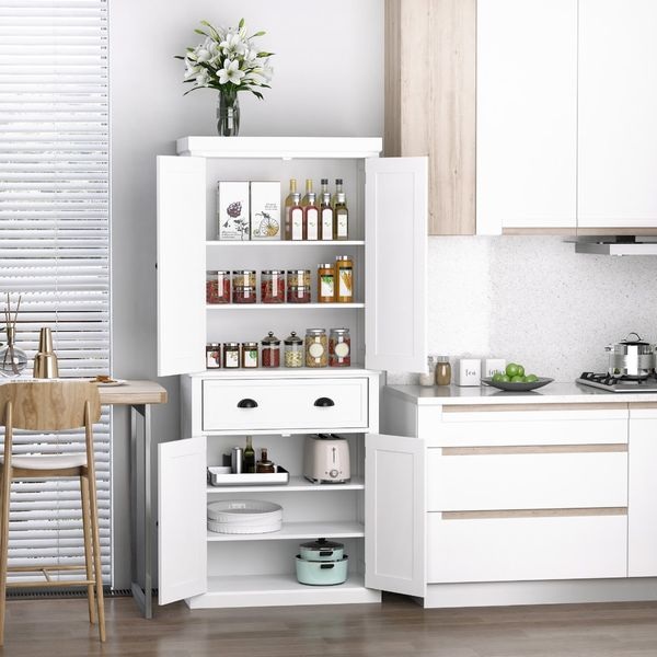 HOMCOM Long Standing Kitchen Cabinet w/ 2 Drawers MDF Board White