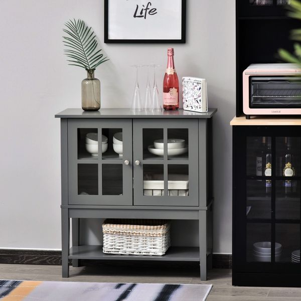 HOMCOM Modern Sideboard Buffet Cabinet Wood Console Table with Glass Doors Kitchen Dining Room Furniture, Dark Gray