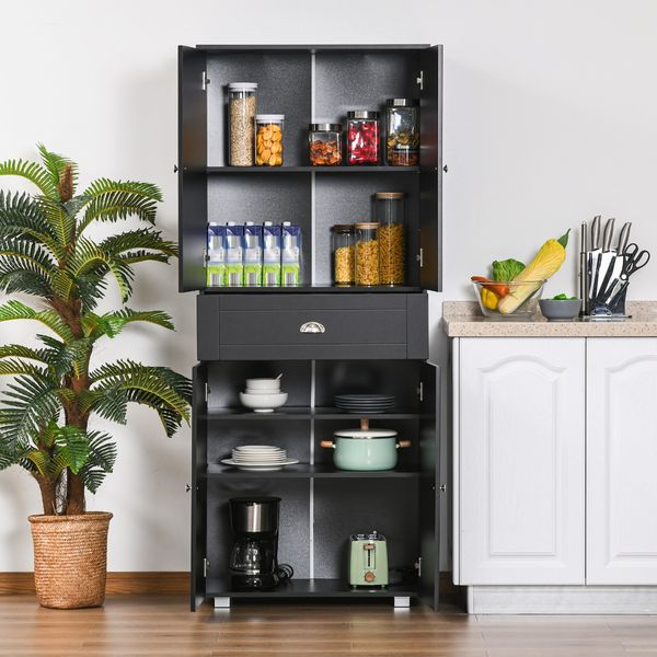 """HOMCOM 71"""" Freestanding Kitchen Pantry Storage Cupboard Floor Utility Cabinets with Drawer and 3 Adjustable Shelves for Dining Room, Living Room, Black"""