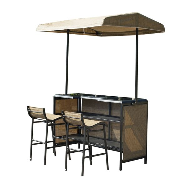 Outsunny 3 Piece Outdoor Bar Table and Stool Set with Canopy Garden Patio Furniture Beige | Aosom Canada