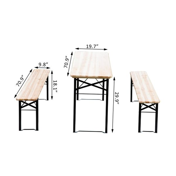 "Outsunny 71"" Portable Heavy Duty 3 Pieces Picnic Beer Table and Bench Set Wood 