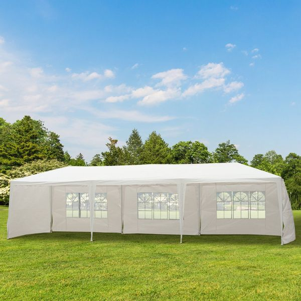 Outsunny 10ᄀᆵx30ᄀᆵ Portable Wedding Party Tent Outdoor Event Camping Gazebo Spring Summer Canopy with 5 Removable Sidewalls White | Aosom Canada