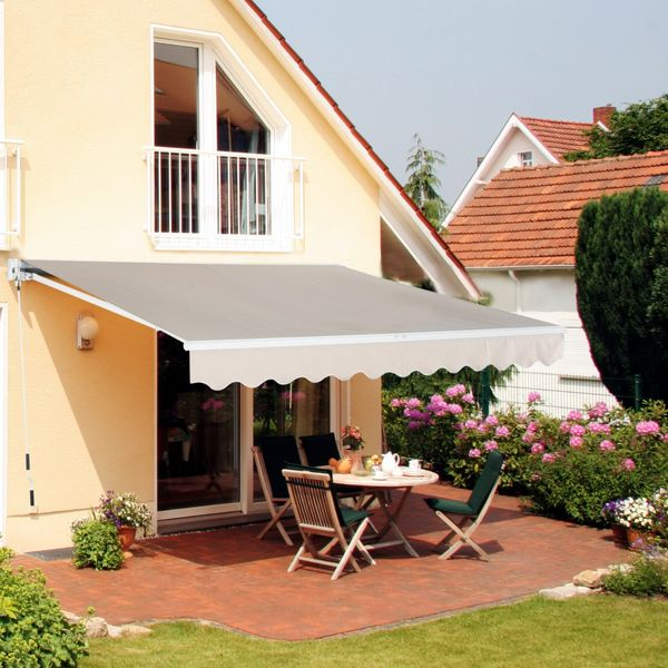 Outsunny 13x8ft Aluminum Frame Manual Retractable Waterproof Sun Shade Patio Awning Outdoor Deck Canopy Water-resistant Shelter Khaki Aosom Canada