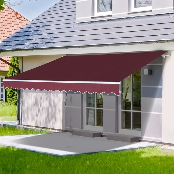 Outsunny 12x8.2ft Manual Retractable Patio Awning Water-Resistant Sun Shade Outdoor Deck Window Door Canopy Shelter Wine Red