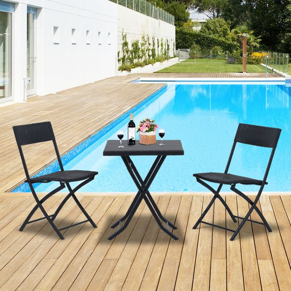 Outsunny 3pcs Rattan Coffee Set Folding Garden Bistro Wicker Chair and Table Outdoor Patio Furniture, Black|Aosom.ca