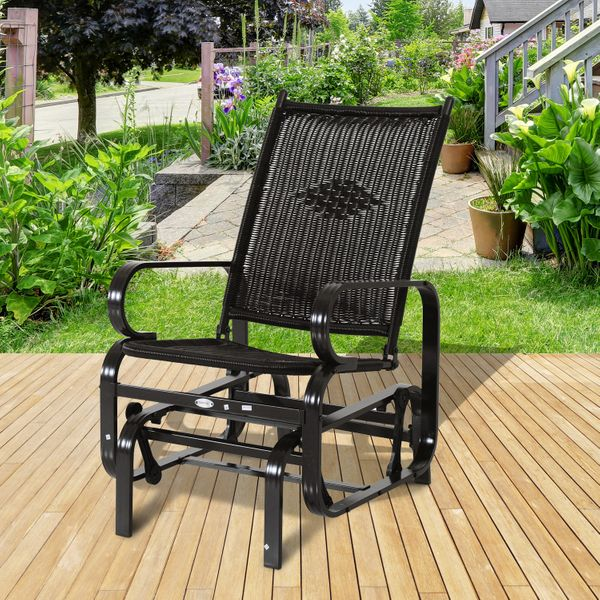 Outsunny Patio Rocking Chair Seat Rattan Wicker Garden Furniture Outdoor Rocker Aluminum Deep Coffee|Aosom Canada