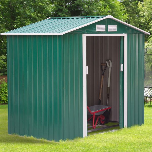Outsunny Garden Storage Shed w/ Floor Outdoor Patio Yard Metal Tool Storage House Green