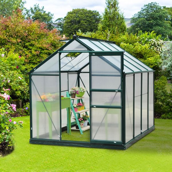 Outsunny 6'x8'x7' Walk-in Garden Greenhouse Polycarbonate Panels Plants Flower Growth Shed Outdoor Warm House Portable Aluminum Frame | Aosom Canada