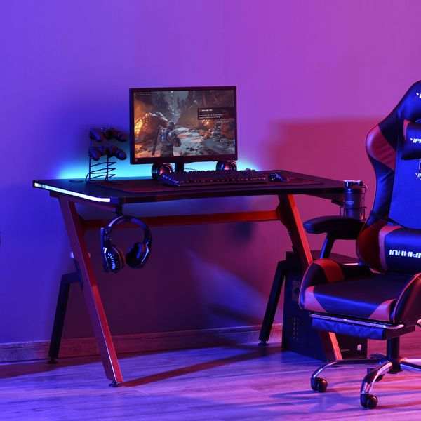 HOMCOM Gaming Desk Racing Style Home Office Ergonomic Computer Table Workstation with RGB LED Lights, Hook, Cup Holder, Controller Rack & Cable Management
