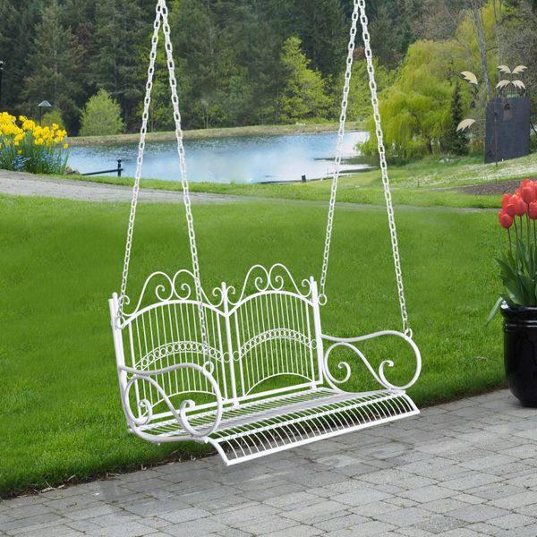 Outsunny Solid Metal 2 Seat Swing Chair Hanging Hammock Outdoor Garden White   |AOSOM.CA