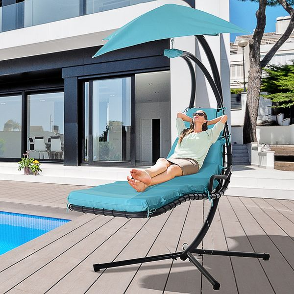 Outsunny Curved Floating Chaise Lounge Porch Swing Hammock Hanging Chair Blue|AOSOM.CA