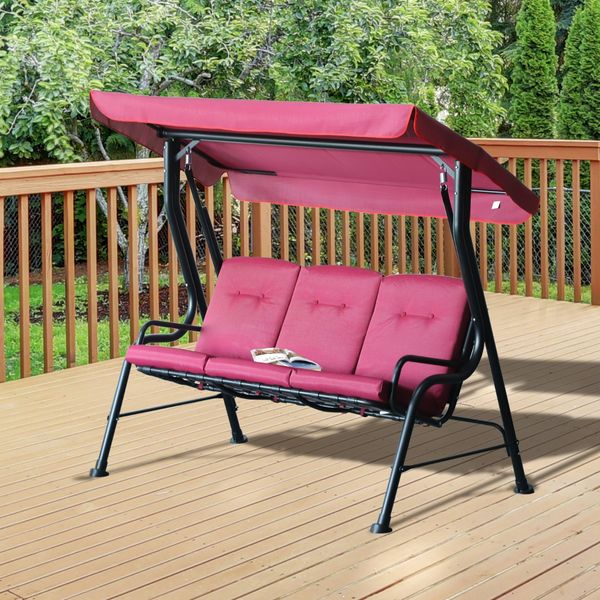 Outsunny 2-Seat Glider Porch Swing with Stand Outdoor 3-person Metal Porch Swing Chair Patio Garden Poolside Seat AOSOM.CA