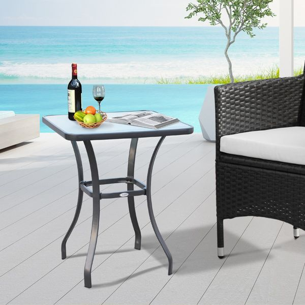 """Outsunny 27"""" Patio Square Table with Tempered Glass Top Outdoor Dining Bar Table Steel Backyard Bistro Table Steel Frame