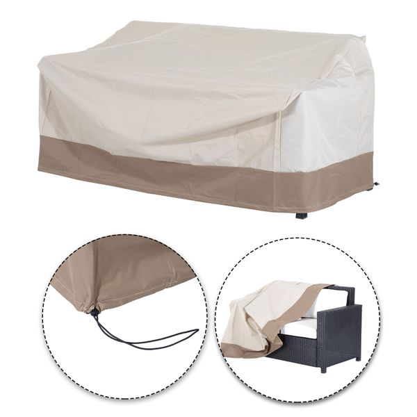 Outsunny Waterproof 2 Seat Sofa Bench Cover Outdoor Rattan Wicker Furniture Rain Dust Protector Beige/Coffee | Aosom Canada