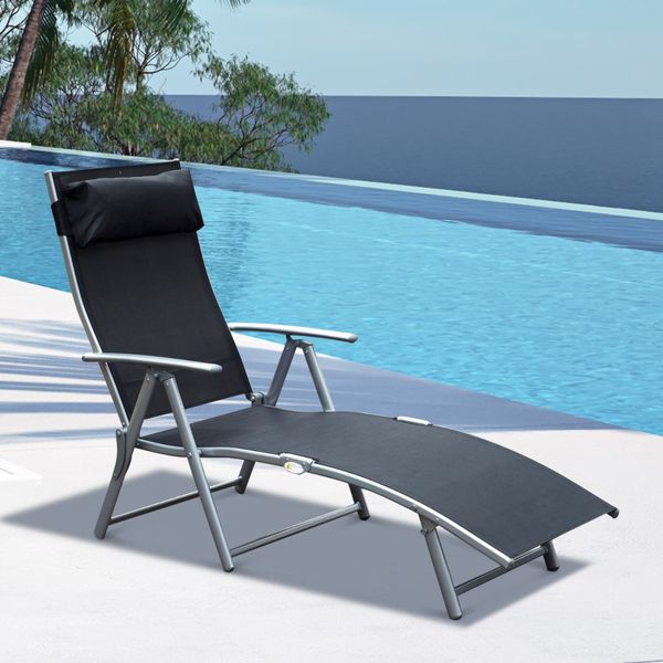 Outsunny Heavy-duty Adjustable Folding Reclining Chair Outdoor Sun Lounger Patio Chaise Lounge Garden Beach Gravity Lounge with Pillow Black|Aosom.ca