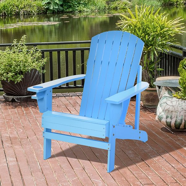 Outsunny Outdoor Patio Wooden Adirondack Chair Lounge w/Cup Holder Deck Garden Furniture