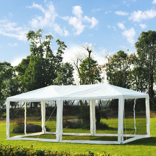 Outsunny 10x20 Canopy Gazebo Wedding Party Tent Outdoor Garden Sun Shade with Mosquito Mesh Netting shelter Easy Set|Aosom Canada
