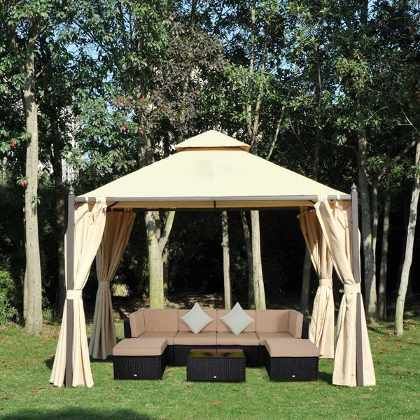 Outsunny 10x10ft Gazebo Canopy Double-tire Garden Shelter Outdoor Sun Shade with Curtains, Beige
