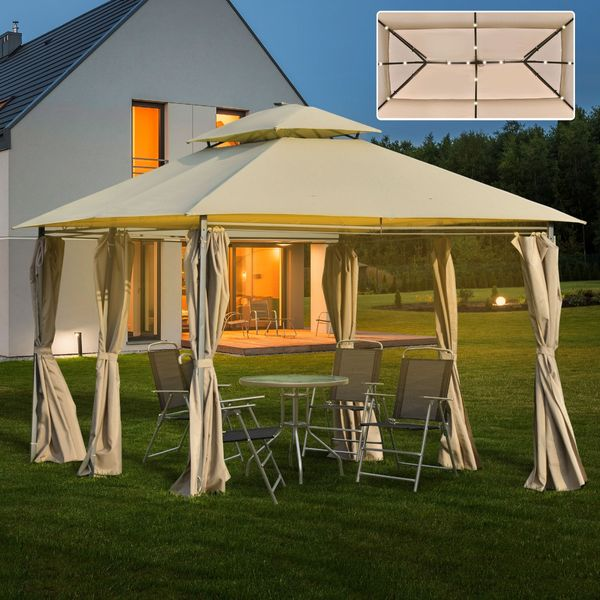 Outsunny 13' x 10' Outdoor Patio Gazebo Canopy with LED Solar Light, Double Tier Roof, Curtains, Steel Frame, Khaki