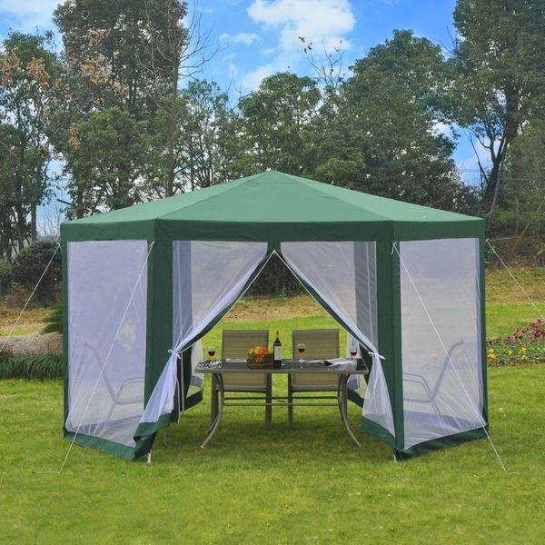 Outsunny φ13' Hexagon Patio Gazebo Tent Garden Party Outdoor Activity Event Canopy Quick Sun Shelter Pavilion with Netting Mesh Sidewall Green|Aosom Canada