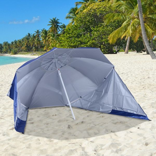 Outsunny 7.5ft 2-in-1 Umbrella Shelter Beach Sport Umbrella with Silver Coated UV50 Protection, Blue|Aosom.ca