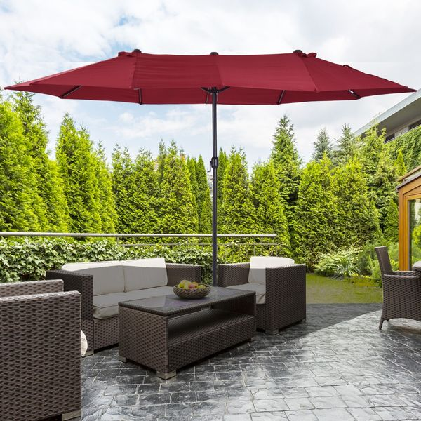 Outsunny 15' Outdoor Patio Umbrella with Twin Canopy Sunshade|AOSOM.CA
