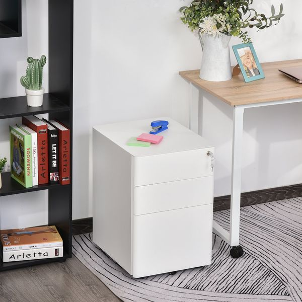 Vinsetto 3 Drawers Steel File Cabinet with Lock and 5 Wheels Under Desk Mobile Filing Cabinet for Legal A4 Letter Size Home & Office White 3-Drawer W/Wheels Storage Chest Lockable | Aosom Canada