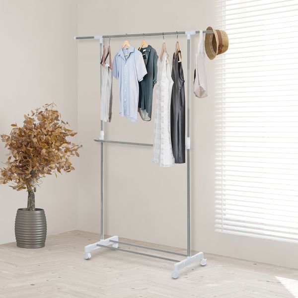 HomCom Wardrobe Rack Rolling Extendable Clothes Rack Adjustable Double Rods Garment Hanger with Shoe Rack and Brake Wheels|Aosom.ca
