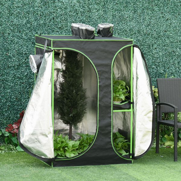 Outsunny Mylar Hydroponic Grow Tent with Adjustable Vents and Floor Tray for Indoor Plant Growing 3ft x 2ft x 4.4ft   Aosom Canada