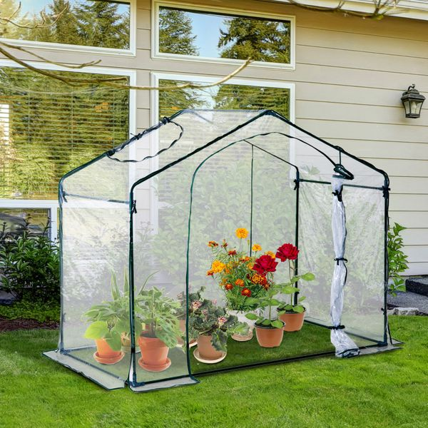 Outsunny 6 x 3.5 x 5ft Portable Garden Greenhouse Mini Flower Plant Growing Warm House Transparent|Aosom.ca