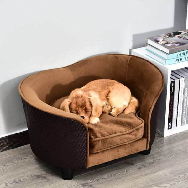 PawHut Rattan Style Pet Dog Cat Sofa Pet Bed Warm Dog Bed Chair with Removable Washable Cushion | Aosom Canada