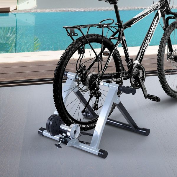 Soozier Indoor Magnetic Bike Bicycle Trainer Stand 5 Level Resistance Silver|Aosom Canada