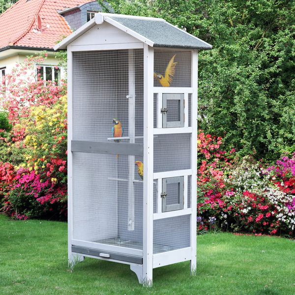 PawHut Wooden Outdoor Aviary Bird Cage removable Bottom tray 2 doors