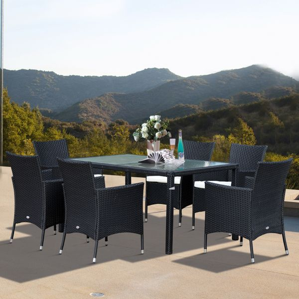 Outsunny 7pcs Garden Rattan Dining Set Glass Table Wicker Furniture Outdoor Cushioned Seat 6 Armchair 1 Patio All Weather Sectional | Aosom Canada