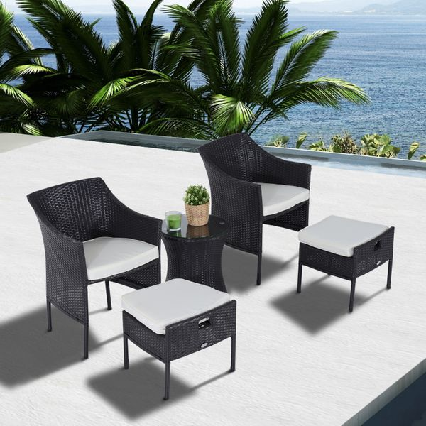 Outsunny Outdoor Indoor 5pcs Wicker Rattan Coffee Set Garden Patio Furniture Club Chair Table and Ottoman with Cushion, Dark Brown|Aosom.ca